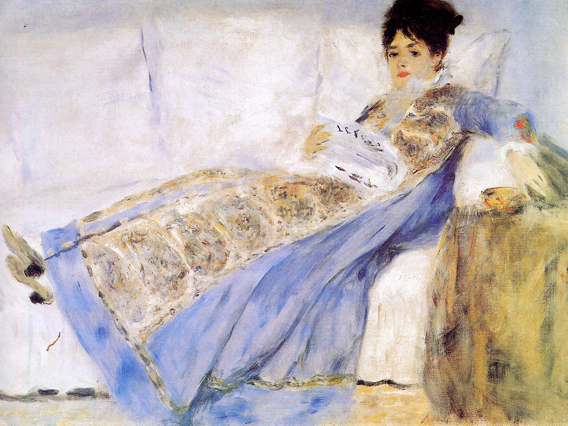 Camille Monet Reading 'Le Figaro' 1872