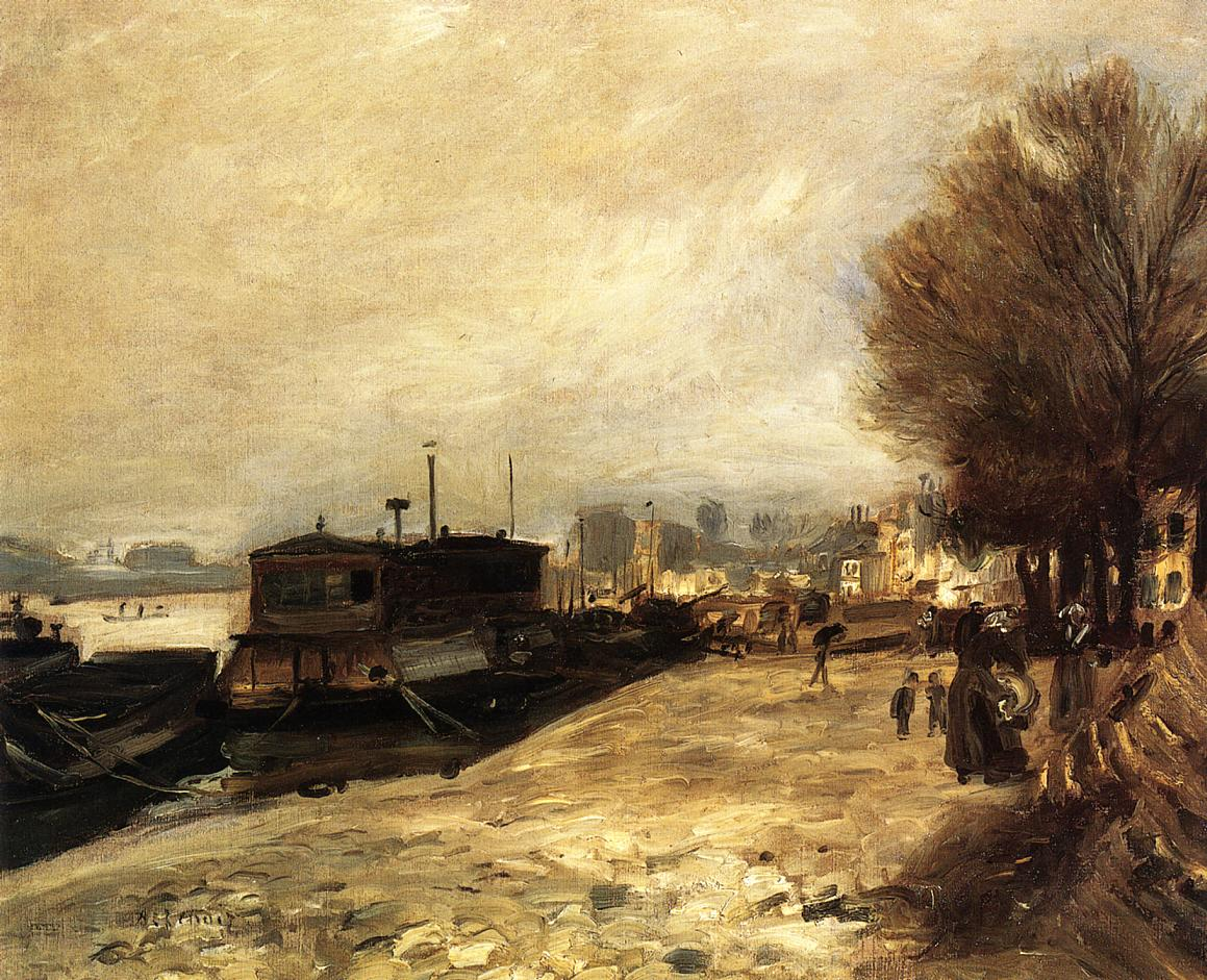 Laundry boat by the banks of the Seine near Paris 1873