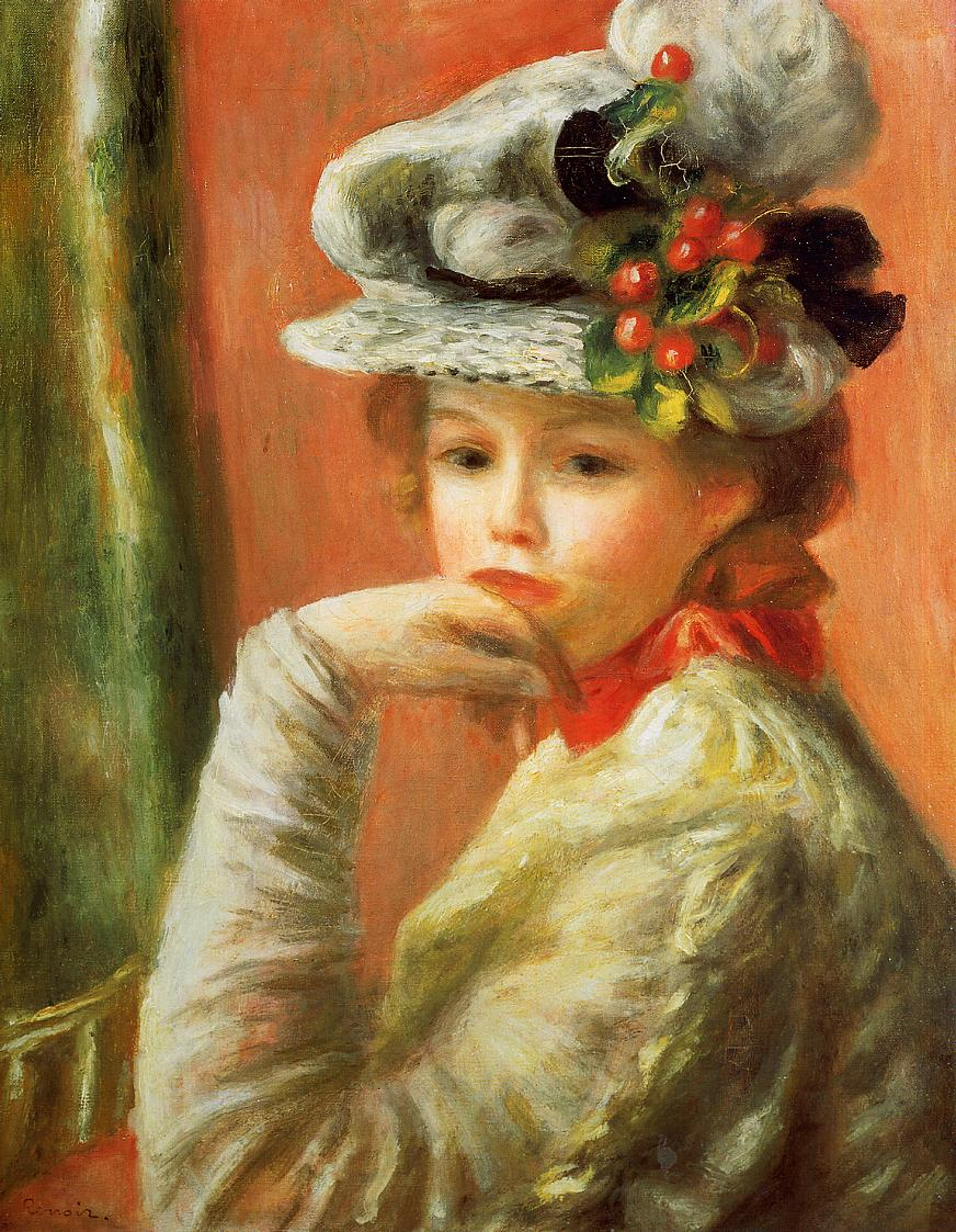 Young girl in a white hat 1891