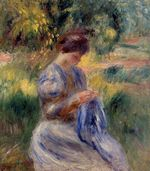 The embroiderer woman. Embroidering in a garden 1898