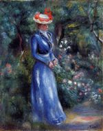 Woman in a blue dress standing in the garden of Saint Cloud 1899
