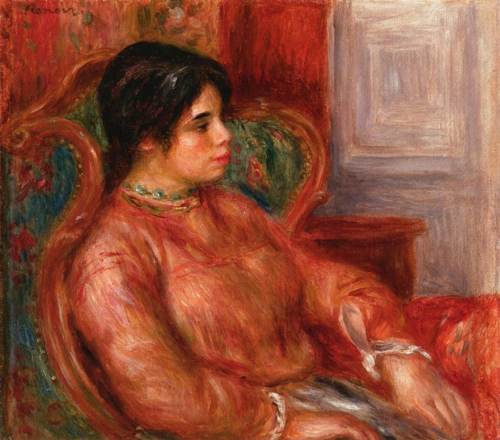 Woman with green chair 1900
