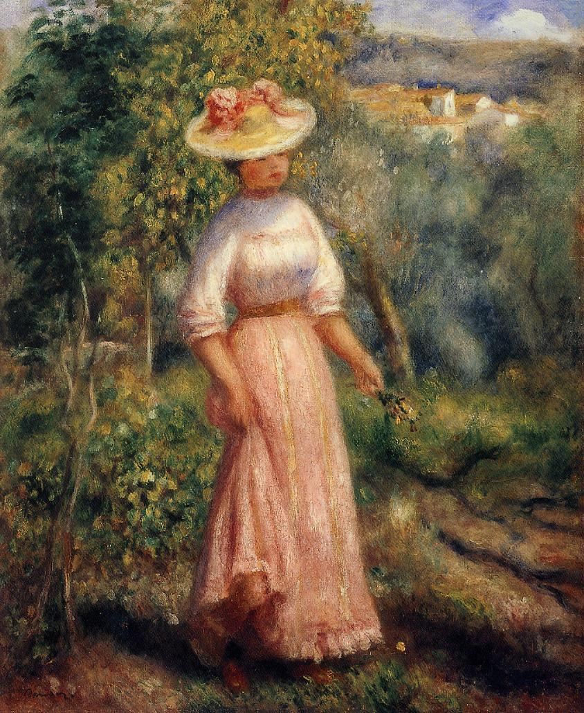 Young woman in red in the fields 1900