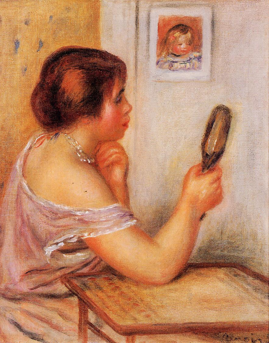 Gabrielle holding a mirror with a portrait of Coco 1905