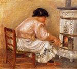 Woman stoking a stove 1912